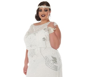 US20 UK24 AUS24 EU52 Isla Off White Plus Size Wedding Gown Dress 20s inspired Flapper Great Gatsby Bridal Shower Reception Beach wedding