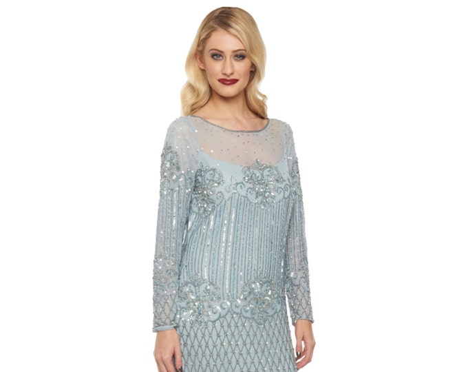 Plus Size Vintage sky Blue Dolores Prom Maxi Dress Sleeves 20s inspired Flapper Great Gatsby Downton Abbey Wedding Bridesmaids Homecoming