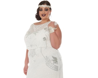 Plus size Isla Off White Art Deco Wedding Gown Dress Vintage 20s inspired Flapper Great Gatsby Charleston Downton Abbey Bohemian