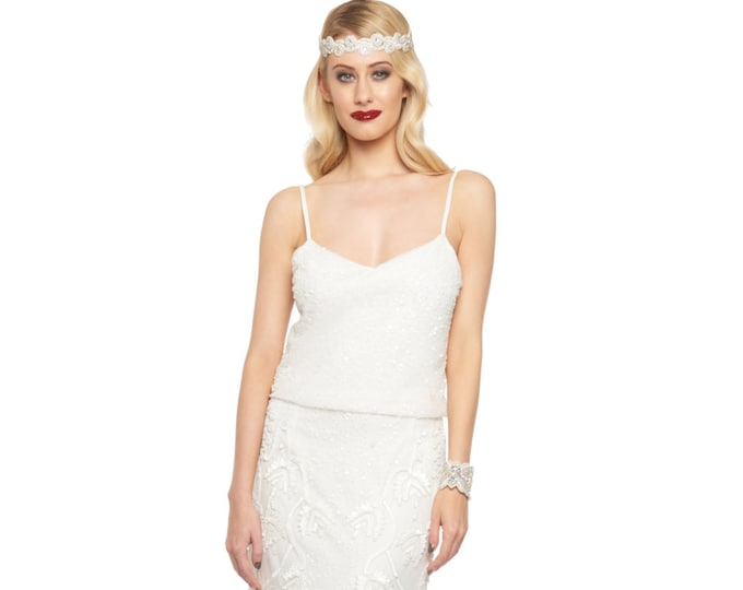 Chicago Off White Wedding Prom Maxi Dress Vintage 1920s inspired Flapper Great Gatsby Charleston Downton Abbey Art Deco Bridesmaid