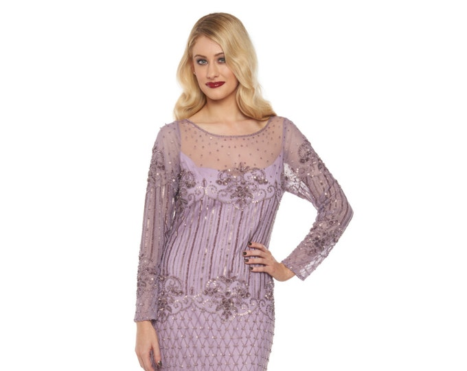 Plus Size Lavender Lilac Prom Maxi Dress Sleeves 20s inspired Flapper Great Gatsby Downton Abbey Wedding Bridesmaids WeddingGuest Homecoming