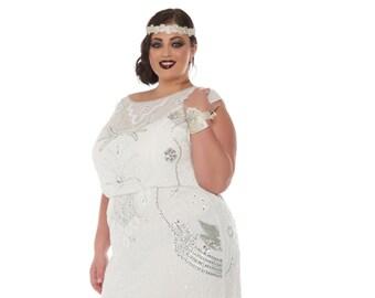 US18 UK22 AUS22 EU50 Isla Off White Plus Size Wedding Gown Dress 20s inspired Flapper Great Gatsby Bridal Shower Reception Beach Wedding