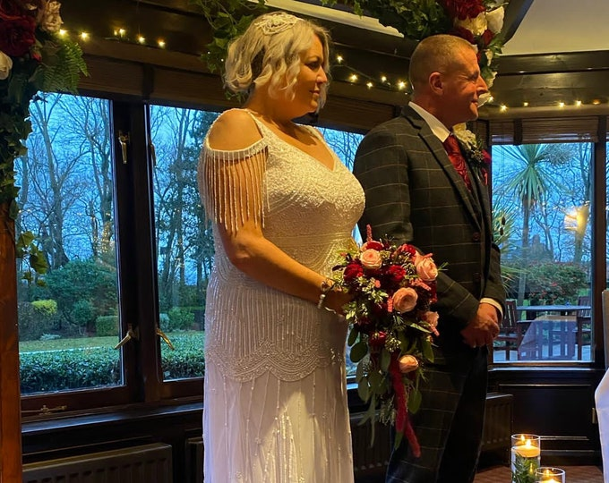 Plus Size Chloe Wedding Gown Open Back Maxi Prom Dress 1920s Great Gatsby Art Deco Downton Abbey Bridesmaid Wedding reception