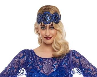 Great Gatsby Navy Royal Blue Julia Flapper Headband Vintage inspired 20s vibe Beaded Charleston Downton Abbey Sequin Art Deco New Hand Made
