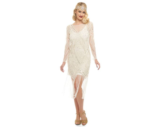 Canada Duty Free Shipping Betty Ivory Gold Fringe Wedding Bridal dress with Sleeves with Slip 20s Flapper Great Gatsby Charleston Bridesmaid
