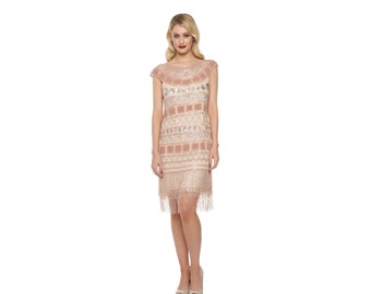 us8 uk12 aus12 eu40 champagne flapper beverley fringe dress 20s great gatsby rehearsal dinner bridesmaid wedding bridal shower downton abbey