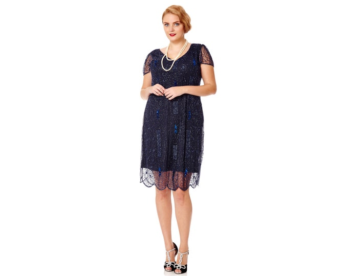 US16 UK20 AUS20 EU48 Downton Abbey Navy Blue Plus size Dress Vintage inspired 20s Flapper Great Gatsby Charleston Bridesmaid Art Deco Beaded