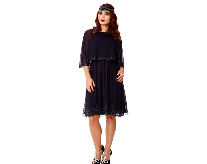Canada Duty Free Shipping Plus size Gloria Navy Blue Capelet Dress 20s Flapper Great Gatsby Wedding Guest Art Deco Bridesmaid Prom Hand made