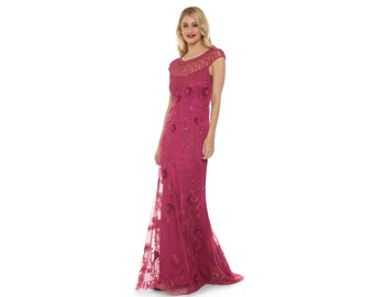 Plus Size Raspberry Elizabeth Gown Prom Maxi Homecoming Dress 20s Great Gatsby Mother of the Bride Bridesmaid Art deco Wedding Guest Dress