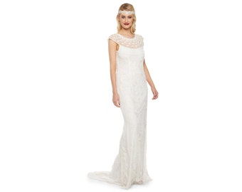 US4 UK8 AUS8 EU36 Wedding Reception Gown Off White Prom Maxi Elizabeth Dress 20s Flapper Great Gatsby Charleston Downton Abbey Beach Artdeco