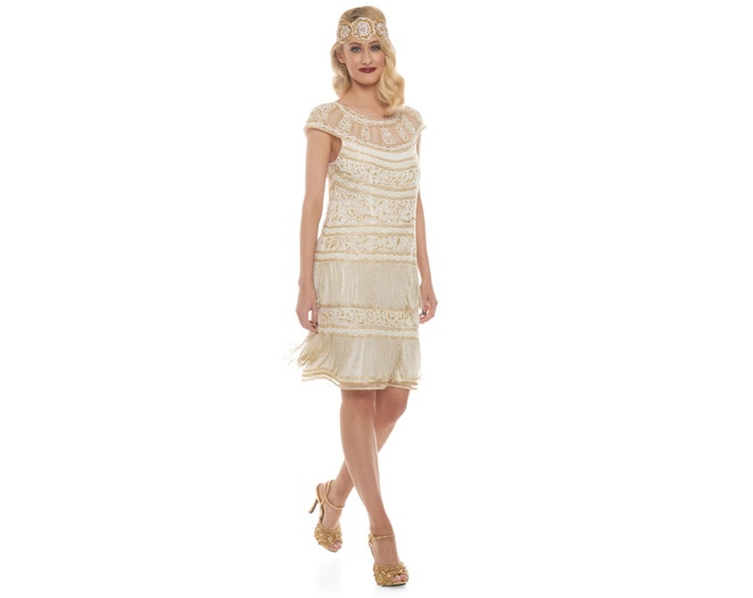 Canada Duty Free Shipping Ivory Gold Flapper Clara Fringe Dress 20s Gatsby Art Deco Downton Abbey Bridesmaid Wedding Reception Bridal Shower