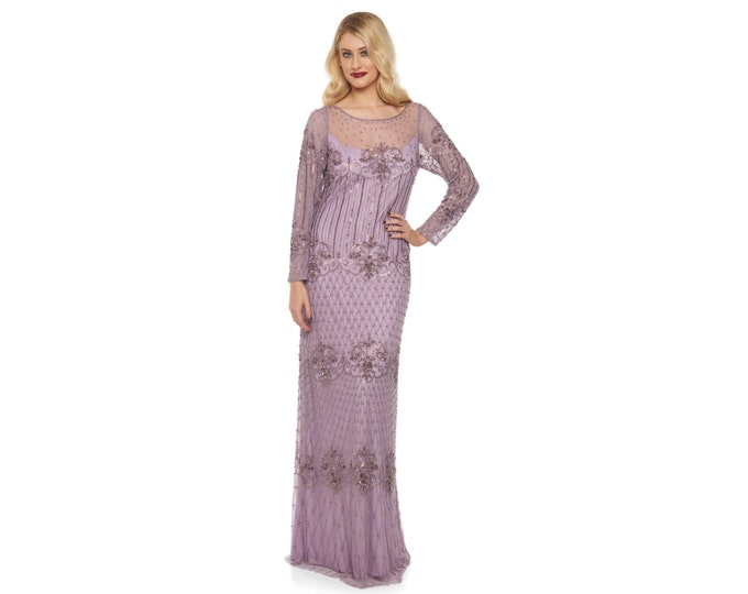 US14 UK18 AUS18 EU46 Lavender Lilac Prom Maxi Dress with Sleeves Dolores 20s Great Gatsby Mother of the Bride Wedding Bridesmaids Homecoming