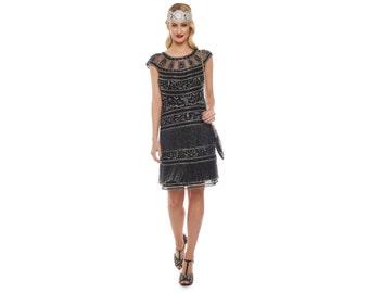 US20 UK24 AUS24 EU52 Plus Size Black Silver Flapper Clara Fringe Dress 20s Great Gatsby Art Deco Charleston Downton Abbey Bridesmaids Beaded