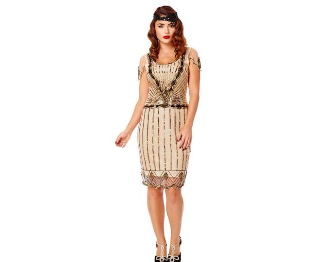US20 UK24 AUS24 EU52 Eva Blush Plus size Dress with Sleeves Vintage 1920s Flapper Great Gatsby Downton Abbey Charleston Bridesmaid Art Deco