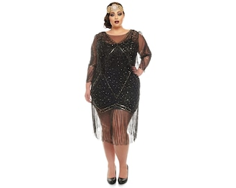 4634fd1ba0b Plus size Betty Black Fringe Dress with Sleeves Slip included 20s inspired Flapper  Gatsby Charleston Bridesmaid Wedding Art Deco