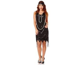 69a2c705a7bd1c Glitz Black Fringe Dress Vintage Flapper 1920s inspired Great Gatsby Art  Deco Charleston Downton Abbey Bridesmaid Wedding Guest Speakeasy