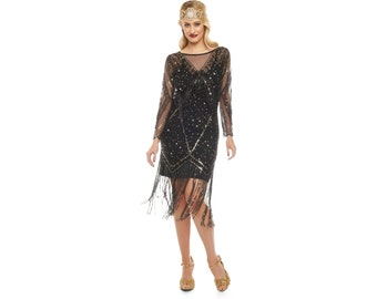 Canada Duty Free shipping Betty Black Gold Fringe dress with Sleeves with Slip 20s Flapper Great Gatsby Deco Downton Abbey Bridesmaid