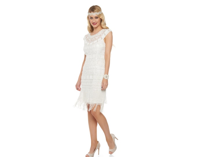 US14 UK18 AUS18 EU46 off White Flapper Beverley Fringe Dress 20s GreatGatsby Rehearsal Dinner Bridesmaid Wedding Reception Bridal Shower New