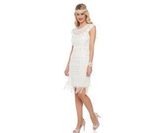 Canada Duty Free Shipping Beverley Fringe Off White Flapper Dress 20s Gatsby Art Deco Rehearsal Dinner Bridesmaid Wedding Reception Bridal