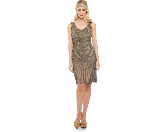PETITE LENGTH Black Nude Francesca Flapper Dress 1920s inspired Great Gatsby Charleston Downton Abbey Art Deco Homecoming Wedding Guest New