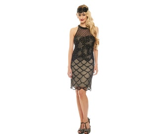 US16 UK20 AUS20 EU48 Plus Size Black Nude Flapper Maddie Dress 20s Great Gatsby Art Deco Charleston Downton Abbey Bridesmaid Homecoming New