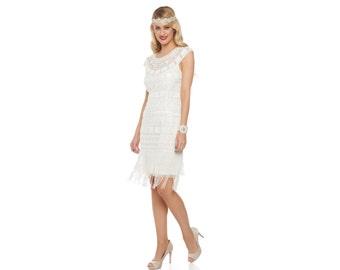 US12 UK16 AUS16 EU44 off White Flapper Beverley Fringe Dress 1920s Great Gatsby Rehearsal Dinner Bridesmaid Wedding Reception Bridal Shower