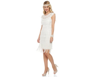 US10 UK14 AUS14 EU42 off White Flapper Beverley Fringe Dress 1920s Great Gatsby Rehearsal Dinner Bridesmaid Wedding Reception Bridal Shower