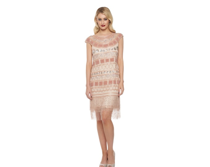 US22 UK26 AUS26 EU54 Plus size Champagne Blush Flapper Beverley Fringe Dress 20s inspired Gatsby Art Deco Charleston Bridesmaid Wedding