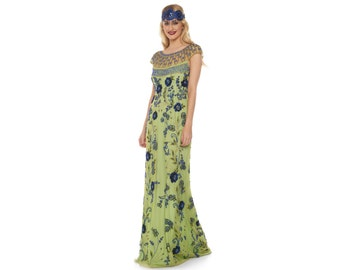 US10 UK14 AUS14 EU42 Elizabeth Lime Royal Blue Long Gown Prom Maxi Formal Dress 20s Flapper Great Gatsby Downton Abbey Bridesmaid Homecoming