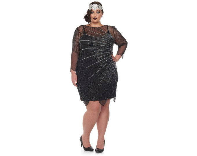 Plus Size Catherine Black silver Flapper Dress with sleeves Slip Included 20s Inspired Great Gatsby Charleston Downton Abbey Bridesmaids New