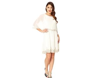 US6 UK10 AUS10 EU38 Gloria Cream Capelet Wedding Prom Dress 20s inspired Flapper Great Gatsby Deco Bridal Shower Rehearsal Dinner Bridesmaid