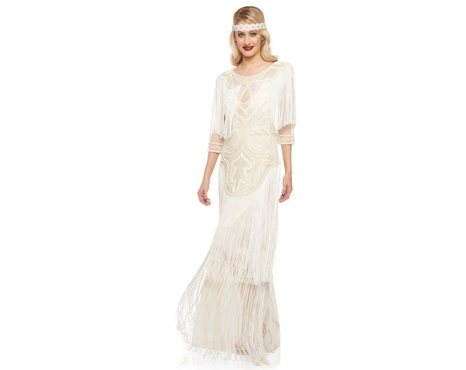 US4 UK8 AUS8 EU36 Wedding Gown Cream Glam Prom Maxi Dress with Sleeves 20s Great Gatsby Downton Abbey Bridal Shower Beach Wedding Reception