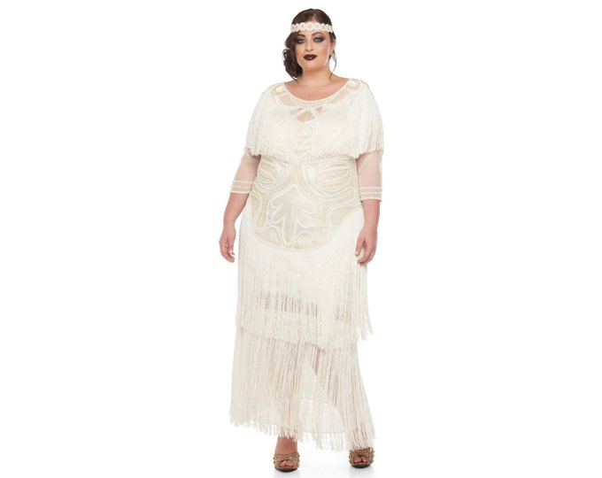 0fbd79ec24f Plus Size Wedding Gown Cream Glam Prom Maxi Dress with Sleeves 20s Great  Gatsby Downton Abbey