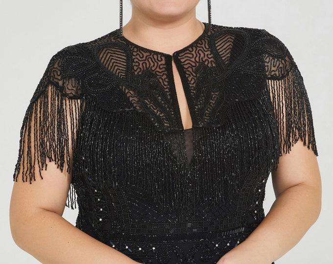 Suzi Embellished Cape in Black 20s inspired Flapper Wedding Prom Jacket Bolero Great Gatsby Art Deco Downton Abbey beaded Shrug cape
