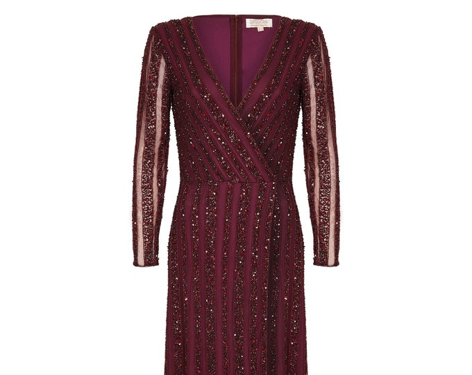 Plum Burgundy Prom Maxi Dress with Long Sleeves 20s Flapper Great Gatsby Formal Wedding Reception Bridesmaids prom