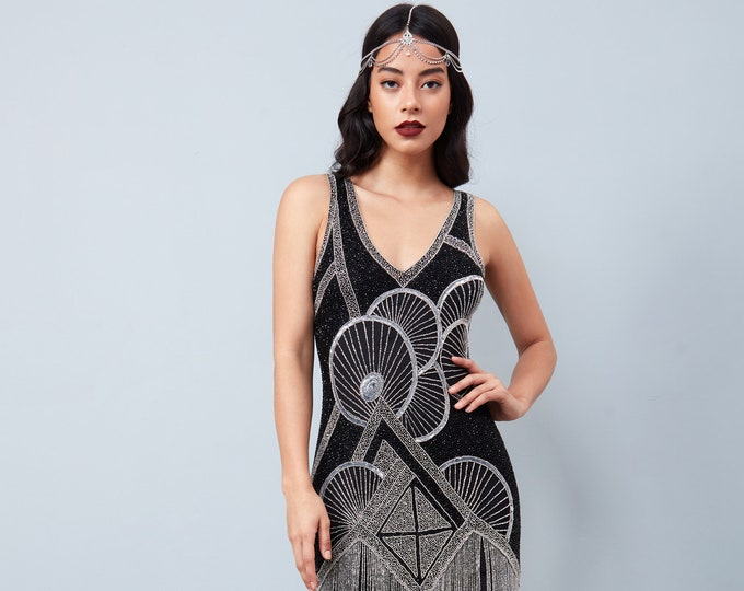 Jade Black Silver Fringe Flapper Dress Slip Included 20s Great Gatsby Art Deco Charleston Downton Abbey Bridesmaid Wedding