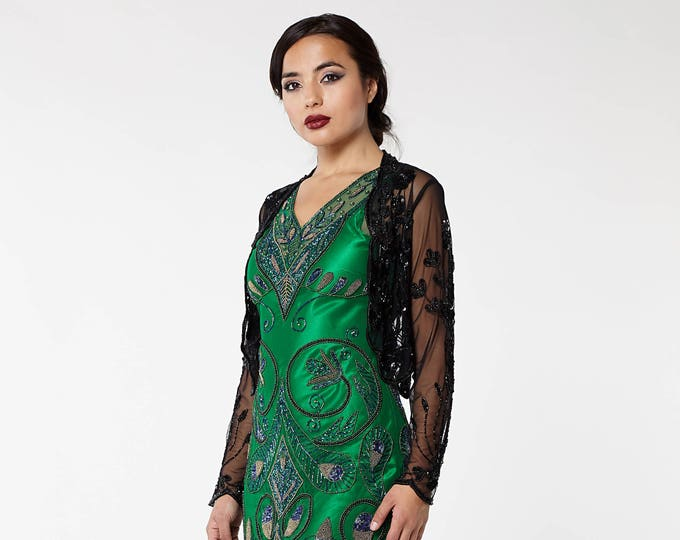 US14 UK18 AUS18 EU46 Black 20s inspired Tess Flapper Wedding Jacket Bolero Great Gatsby Art Deco Downton Abbey Hand embellished Shrug cape