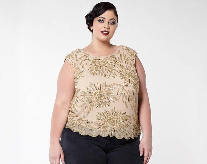 US16 UK20 AUS20 EU48 Cowl Back Neck Blush Plus Size Bohemian Dahlia bridesmaids bridal top Blouse 20s Great Gatsby Art Deco Charleston pinup