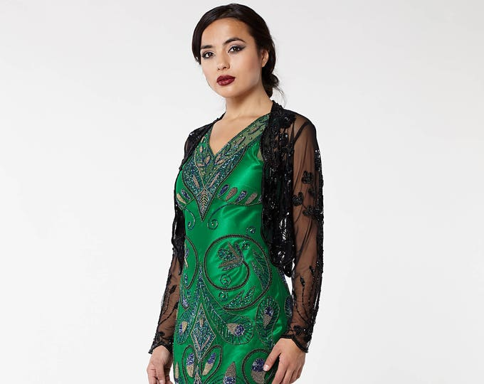 US26 UK30 AUS30 EU58 Plus Size Black 20s inspired Tess Flapper Wedding Jacket Bolero Great Gatsby Art Deco Downton Abbey beaded Shrug cape