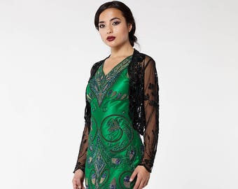 US24 UK28 AUS28 EU56 Plus Size Black 20s inspired Tess Flapper Wedding Jacket Bolero Great Gatsby Art Deco Downton Abbey beaded Shrug cape