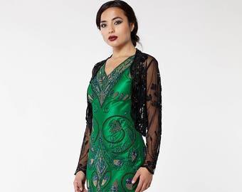 Black Vintage 20s inspired Tess Flapper Wedding Jacket Bolero Great Gatsby Charleston Art Deco Downton Abbey Hand embellished Shrug cape