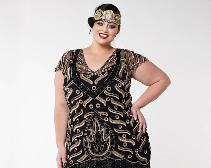 a6899c4ae20 US18 UK22 AUS22 EU50 Plus Size Vegas Black Gold Flapper Dress With Slip 20s  GreatGatsby Art