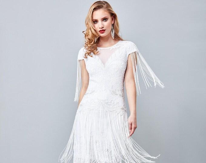 Sybil Wedding Fringe Dress 1920s Vintage inspired Great Gatsby Art Deco Charleston Downton Abbey Bridesmaid Bridal