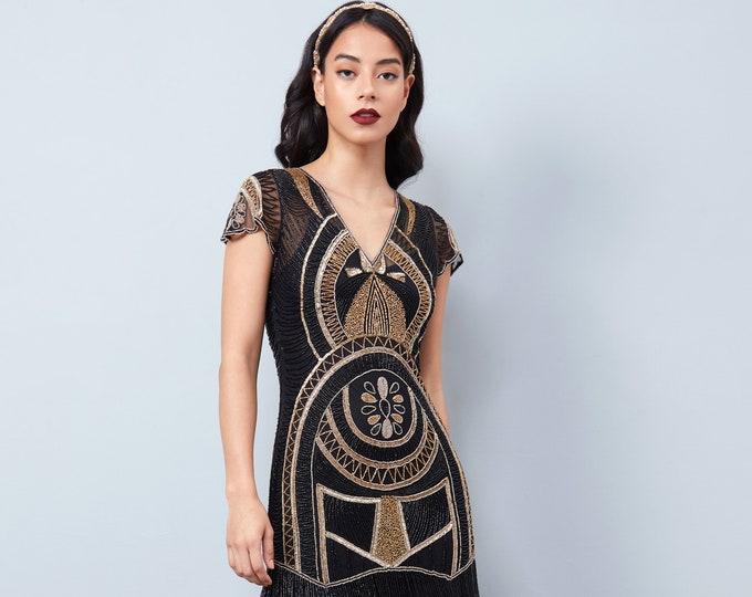 Mary Black Gold Fringe Flapper Dress Slip Included 20s Great Gatsby Art Deco Charleston Downton Abbey Bridesmaid Wedding