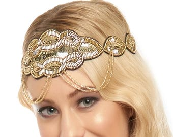 Black Gold Great Gatsby Flapper Headband Vintage inspired 1920s vibe Beaded Charleston Downton Abbey Sequin Mod Art Deco Black New Hand Made