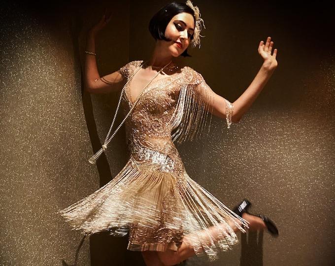 Sybil Blush Fringe Dress Jazz age 1920s Vintage inspired Great Gatsby Art Deco Charleston Downton Abbey Bridesmaid Wedding