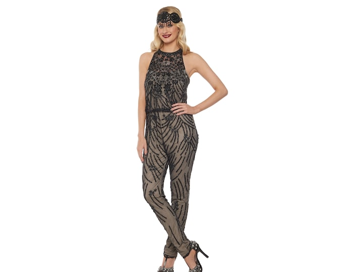 US22 UK26 AUS26 EU52 Plus Size Black Nude Jumpsuit Romper Cora 20s Great Gatsby Art Deco Charleston Downton Abbey Bridesmaid Wedding Beaded
