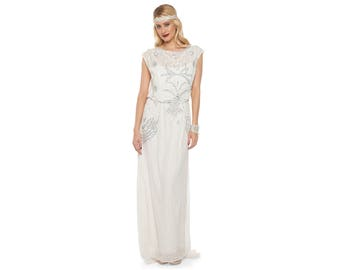 df8b8c70063de Isla Off White Art Deco Bohemian Wedding Prom Maxi Gown Dress Vintage 20s  inspired Flapper Great Gatsby Charleston Downton Abbey Handmade