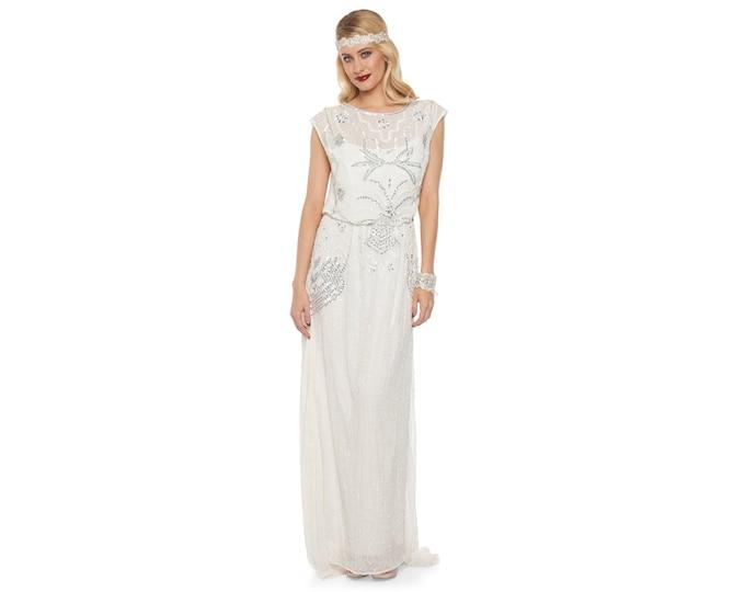 Isla Off White Art Deco Bohemian Wedding Prom Maxi Gown Dress Vintage 20s inspired Flapper Great Gatsby Charleston Downton Abbey Handmade