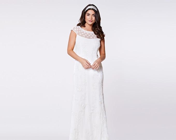 Wedding Gown Off White Prom Maxi Elizabeth Dress 20s inspired Flapper Great Gatsby Charleston Downton Abbey Beach Wedding Reception Art deco